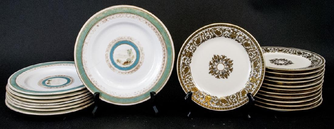 2 Sets of Antique China Porcelain Lunch Plates