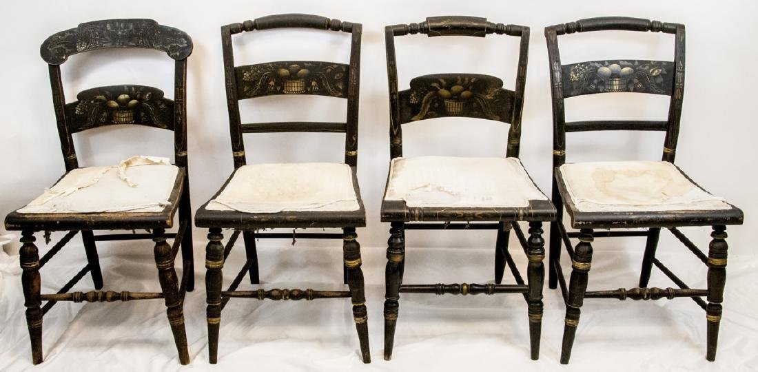4 Antique Hand Stenciled Hitchcock Side Chairs