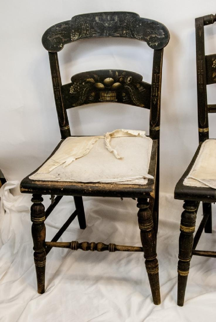 4 Antique Hand Stenciled Hitchcock Side Chairs - 2