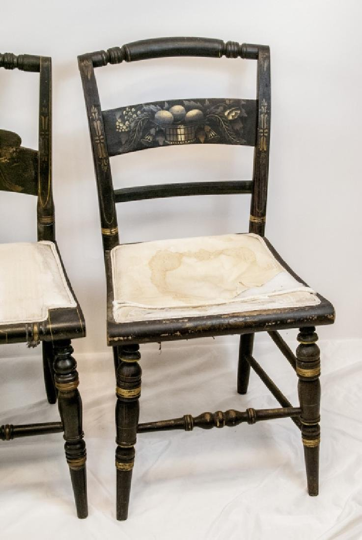 4 Antique Hand Stenciled Hitchcock Side Chairs - 5