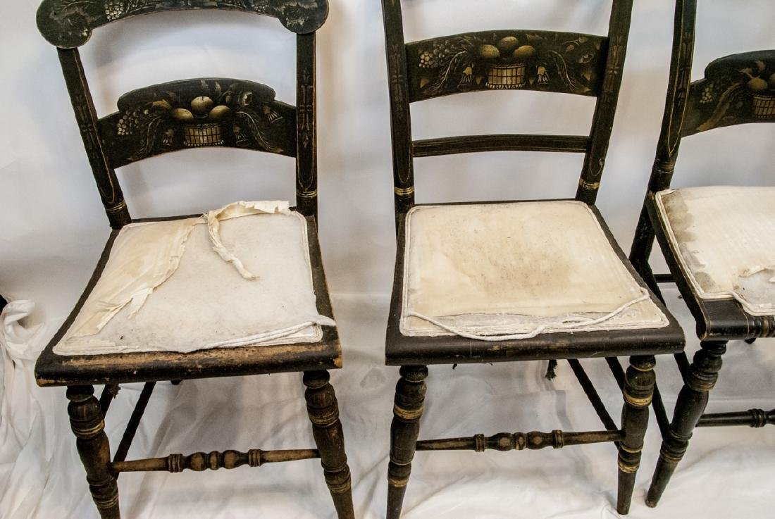 4 Antique Hand Stenciled Hitchcock Side Chairs - 6