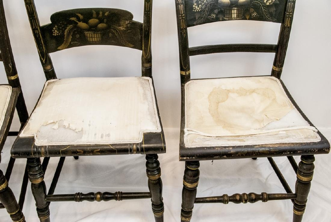 4 Antique Hand Stenciled Hitchcock Side Chairs - 7