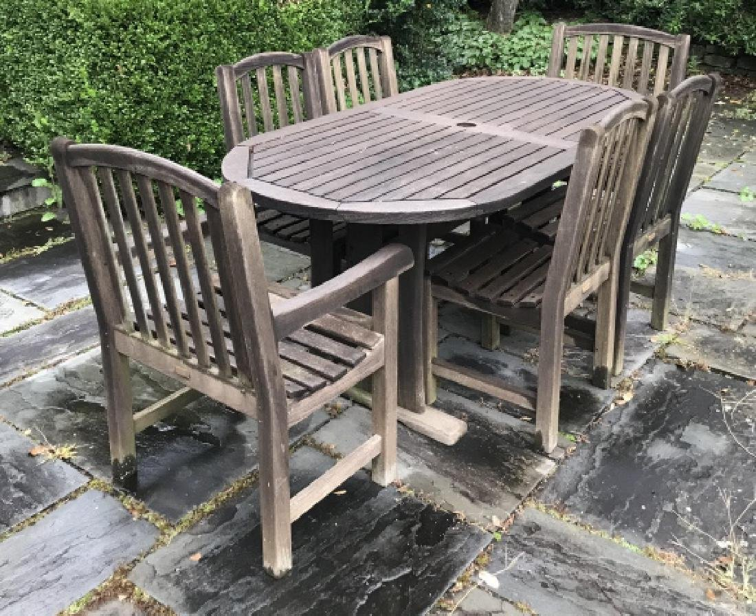 Teak Outdoor Dining Room Table w Six Chairs