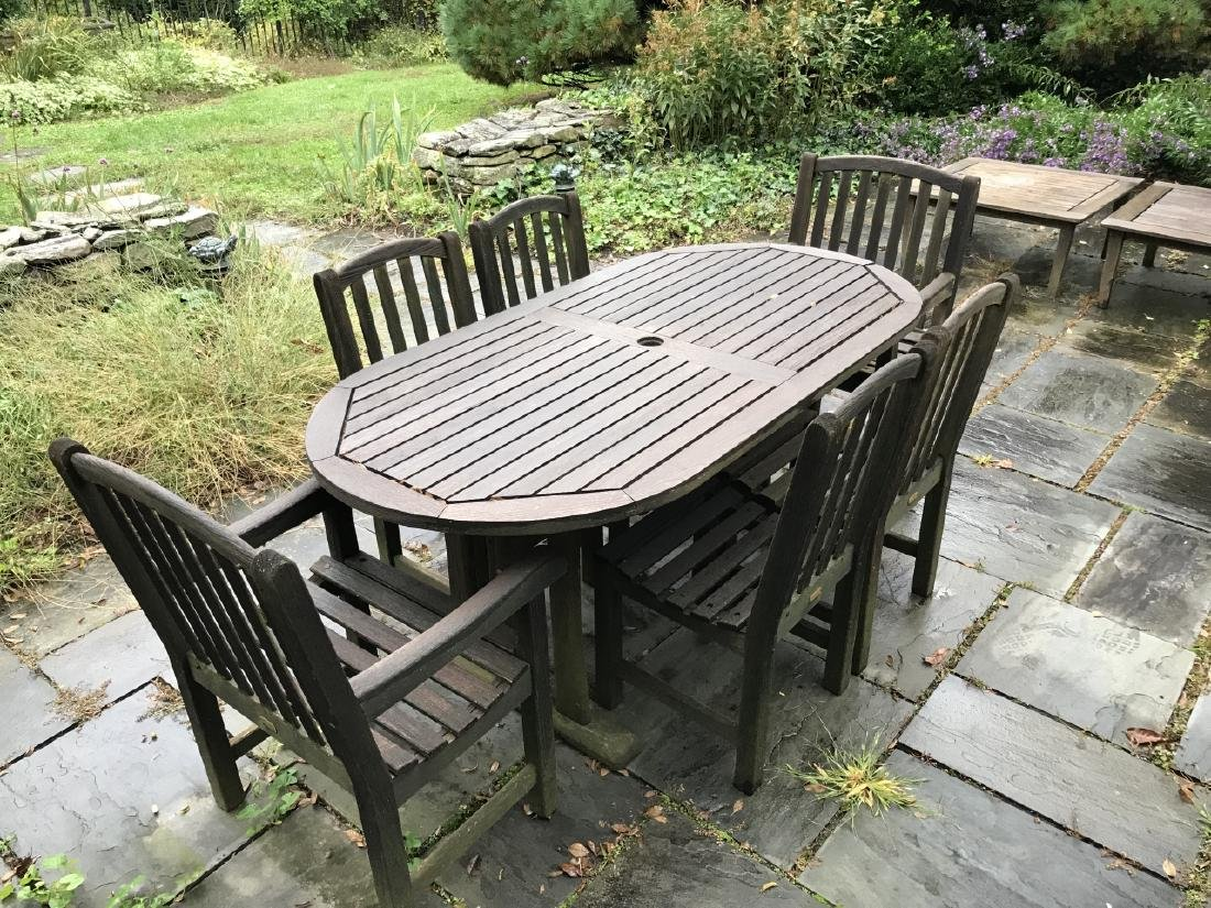 Teak Outdoor Dining Room Table w Six Chairs - 2