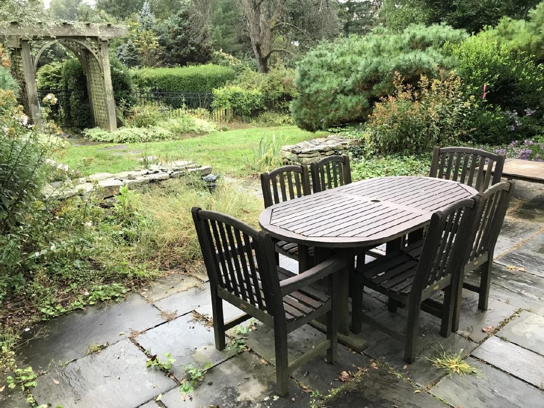 Teak Outdoor Dining Room Table w Six Chairs - 4