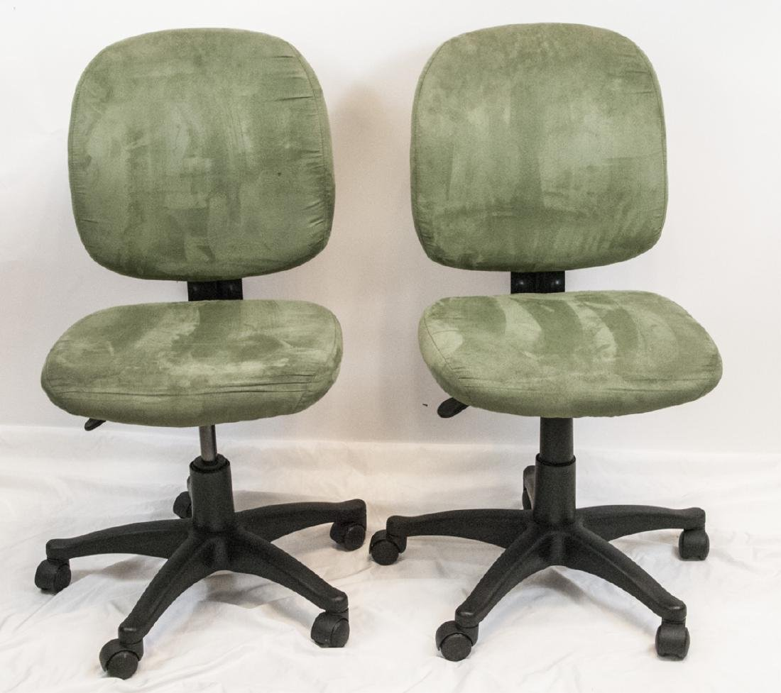 Pair of Sage Green Suede Office / Desk Chairs