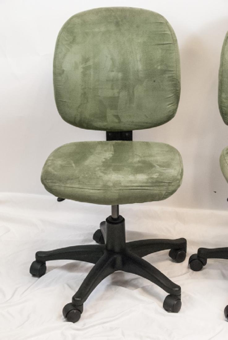 Pair of Sage Green Suede Office / Desk Chairs - 2