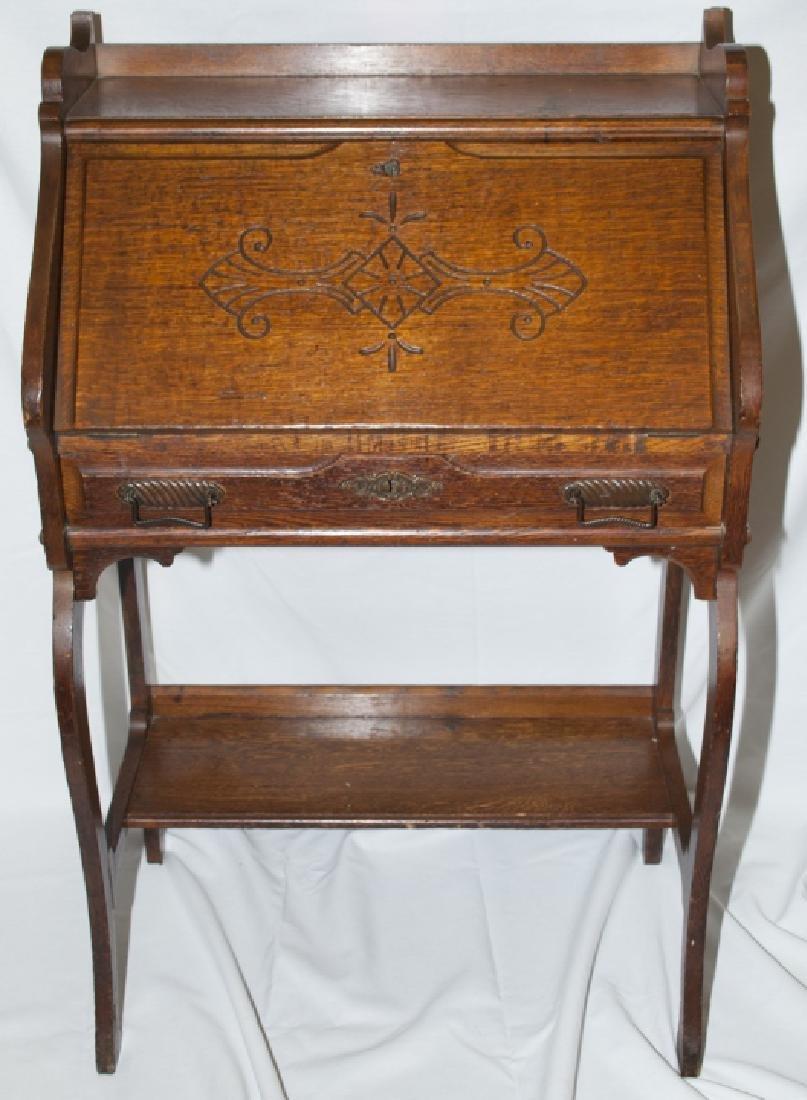 Arts and Craft Oak Slant Top Secretary / Desk