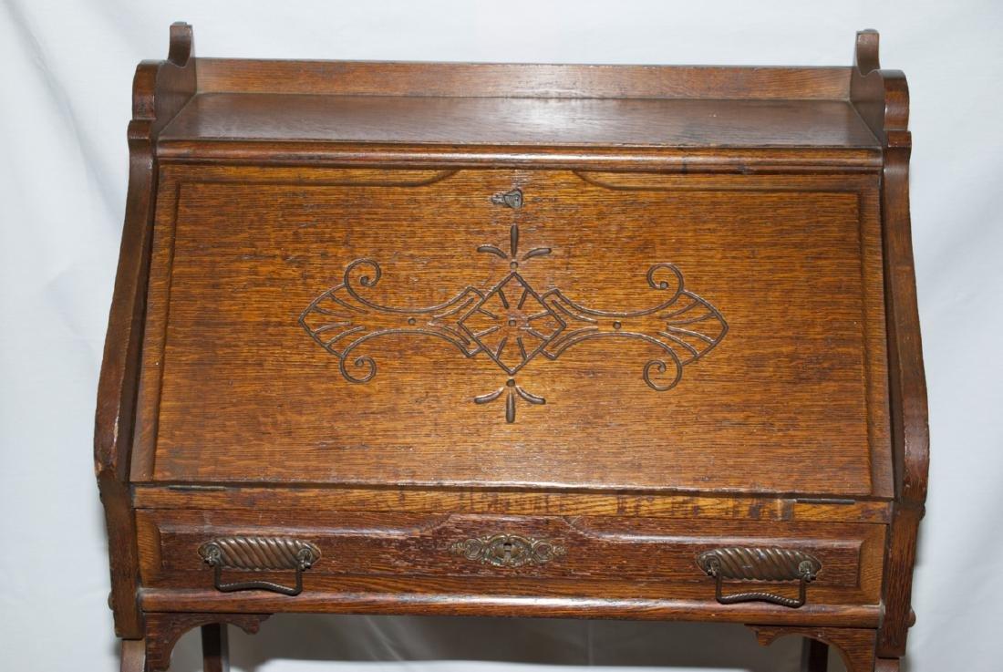 Arts and Craft Oak Slant Top Secretary / Desk - 2