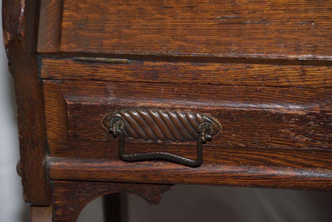 Arts and Craft Oak Slant Top Secretary / Desk - 4