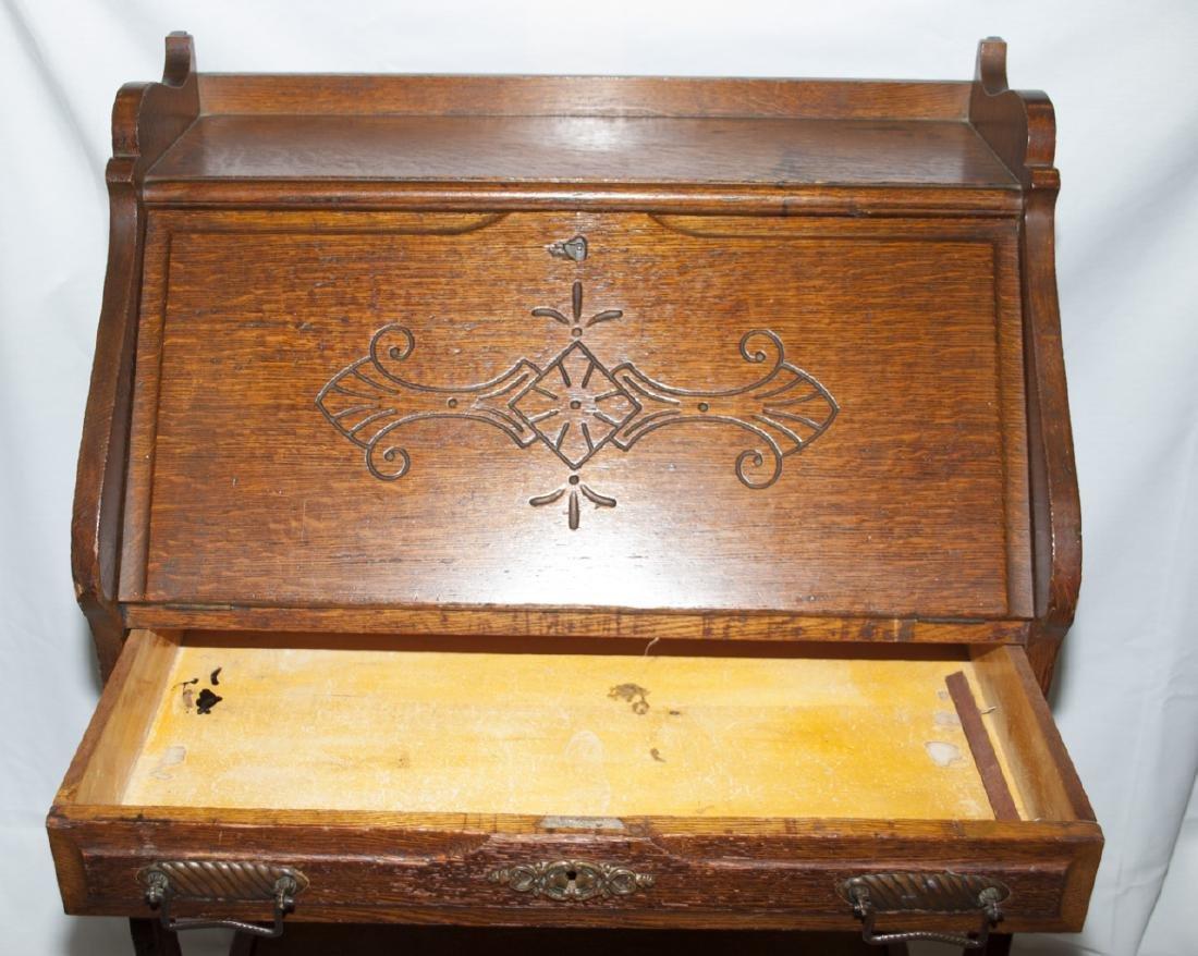 Arts and Craft Oak Slant Top Secretary / Desk - 6