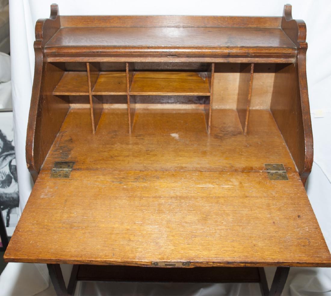 Arts and Craft Oak Slant Top Secretary / Desk - 7