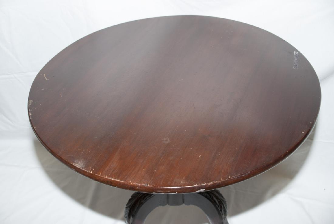 Antique Claw Foot Mahogany Tilt Top Table - 5