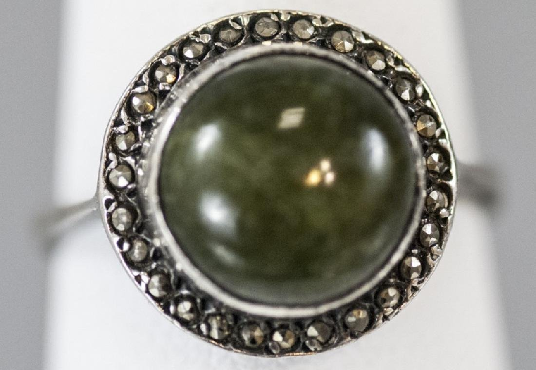 Art Deco Cabochon & Marcasite Sterling Silver Ring