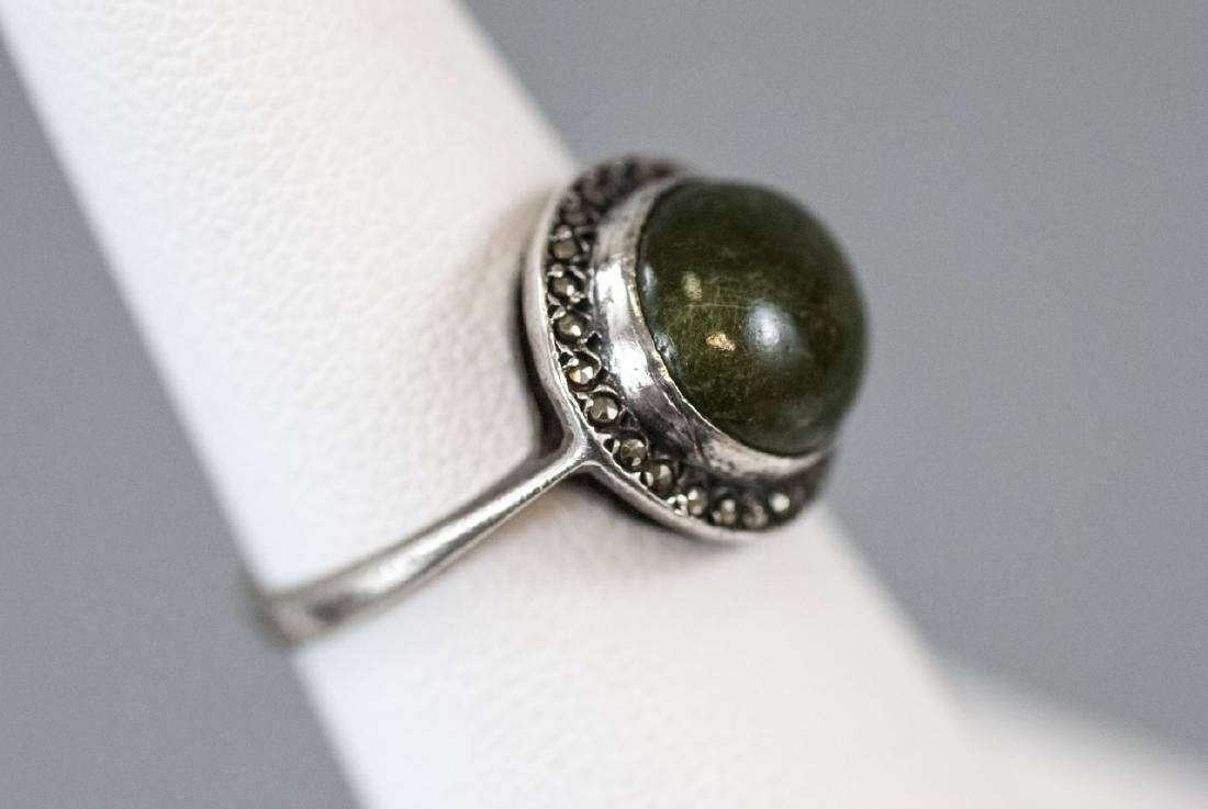 Art Deco Cabochon & Marcasite Sterling Silver Ring - 2