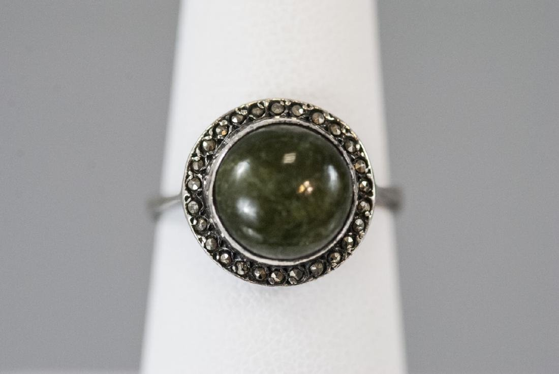 Art Deco Cabochon & Marcasite Sterling Silver Ring - 3