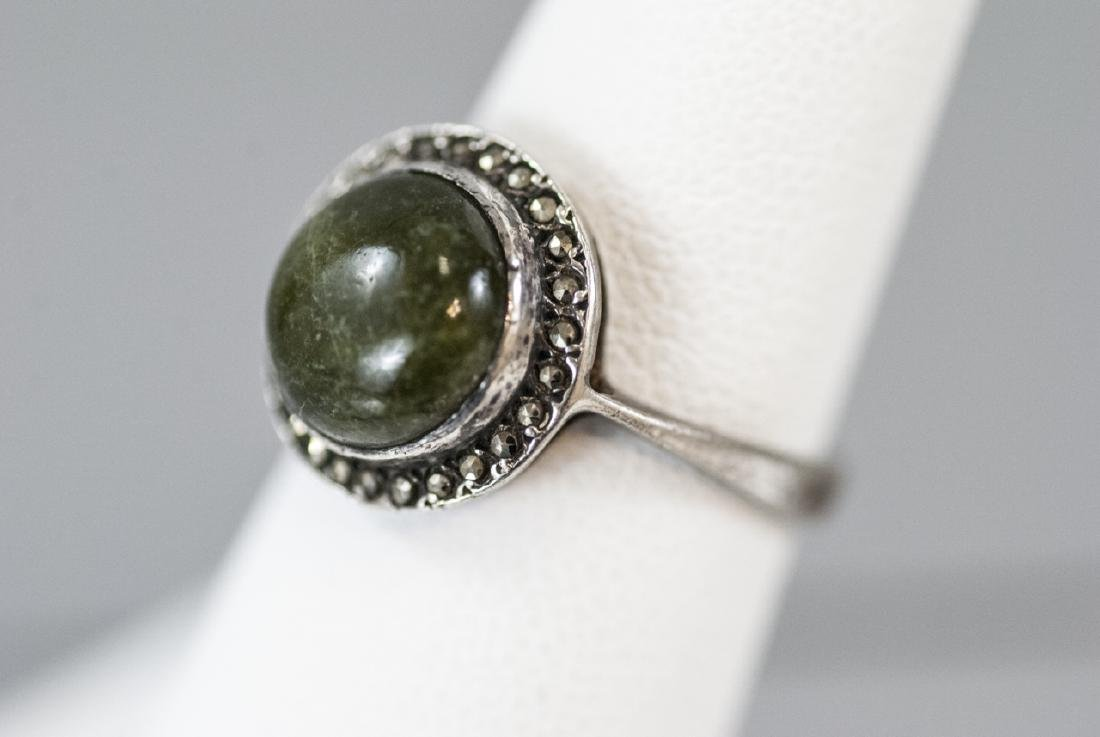 Art Deco Cabochon & Marcasite Sterling Silver Ring - 4