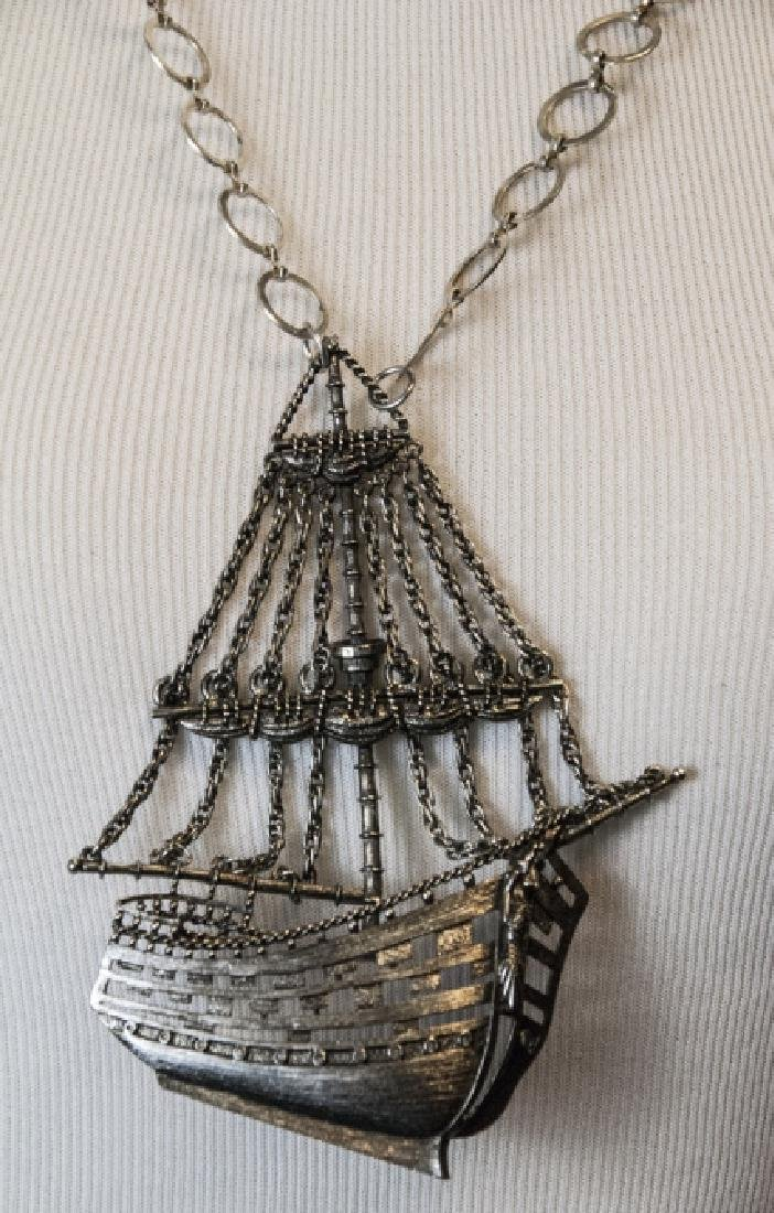 Costume Jewelry Statement Necklace w Ship Pendant