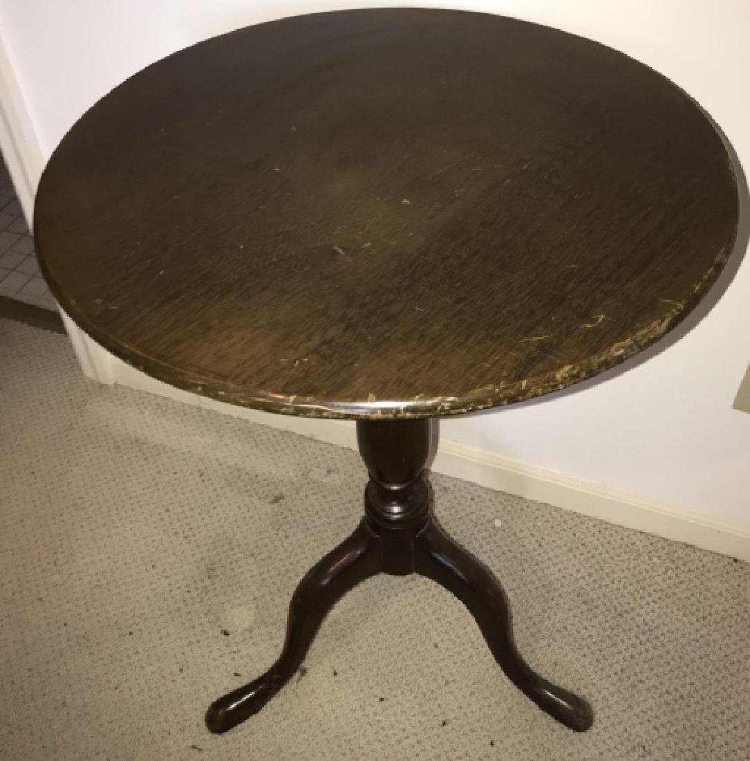 English Country Style Pedestal Base Round Table - 2