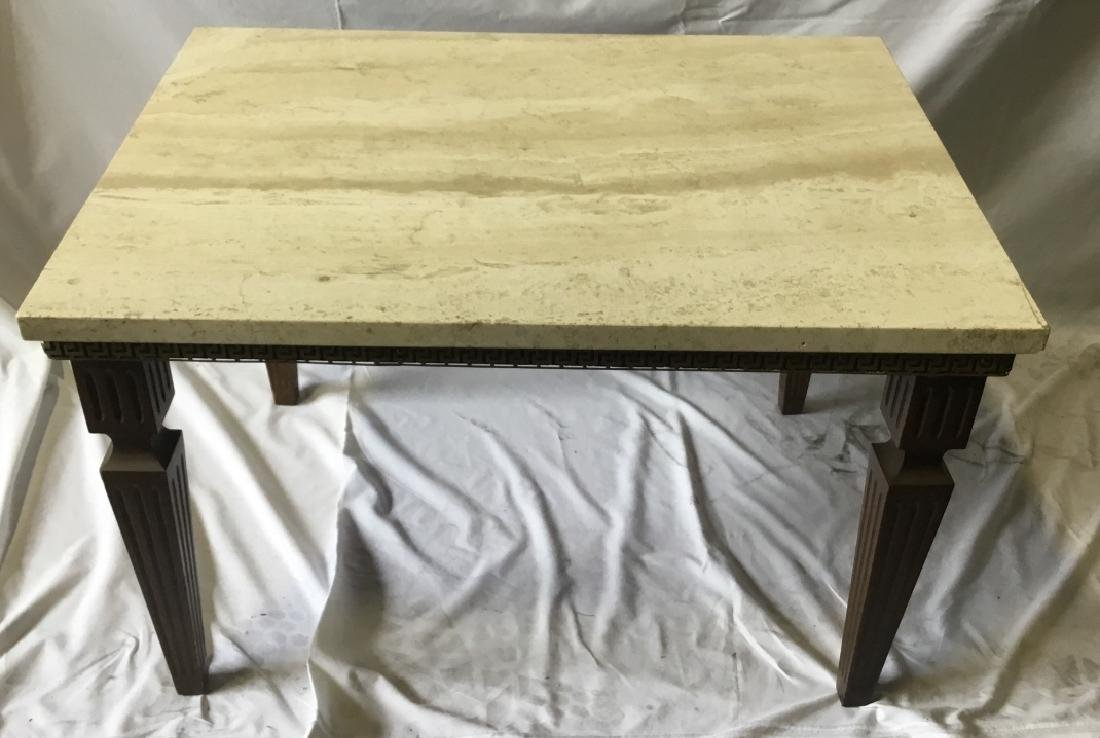 Regency Style Travertine Top Coffee Table
