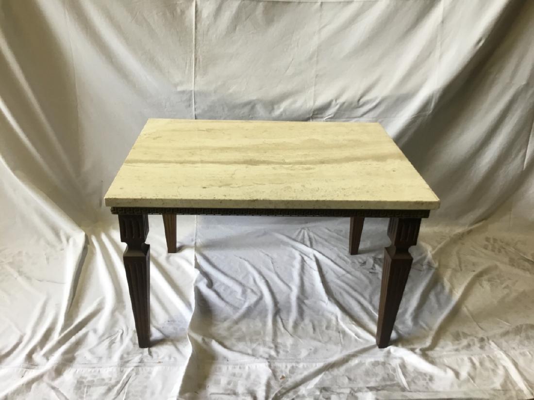 Regency Style Travertine Top Coffee Table - 2