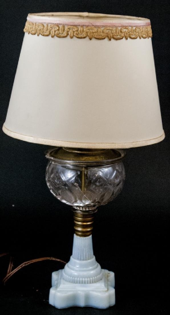 Vintage Milk Glass & Molded Glass Table Lamp