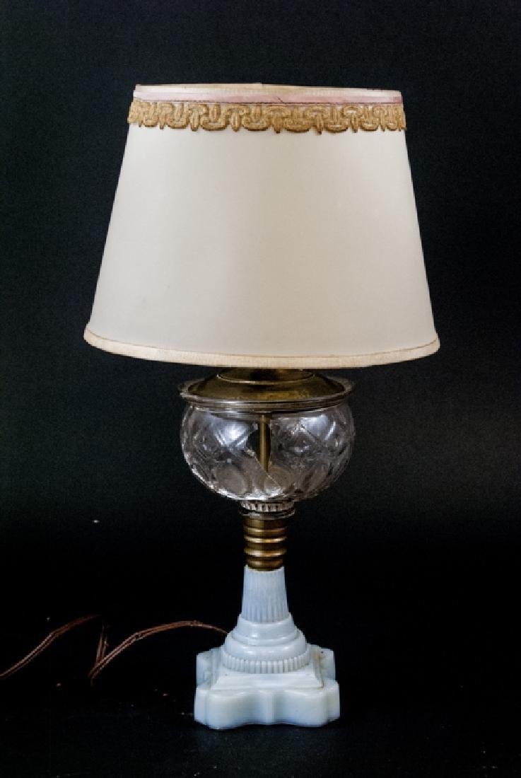 Vintage Milk Glass & Molded Glass Table Lamp - 3