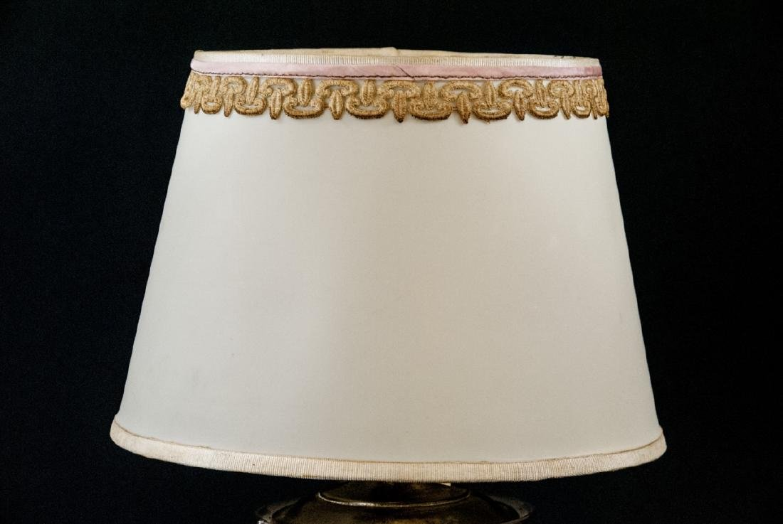 Vintage Milk Glass & Molded Glass Table Lamp - 4