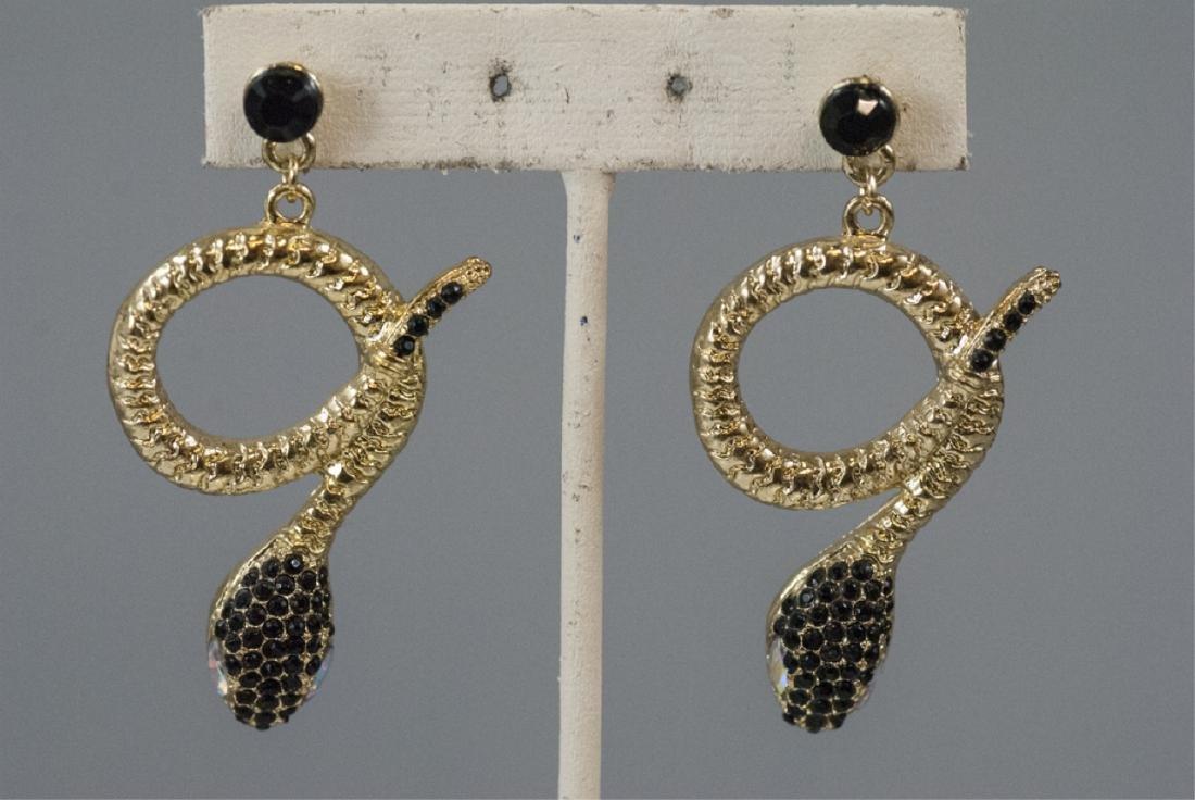 Pair of Gilt Metal & Rhinestone Snake Earrings