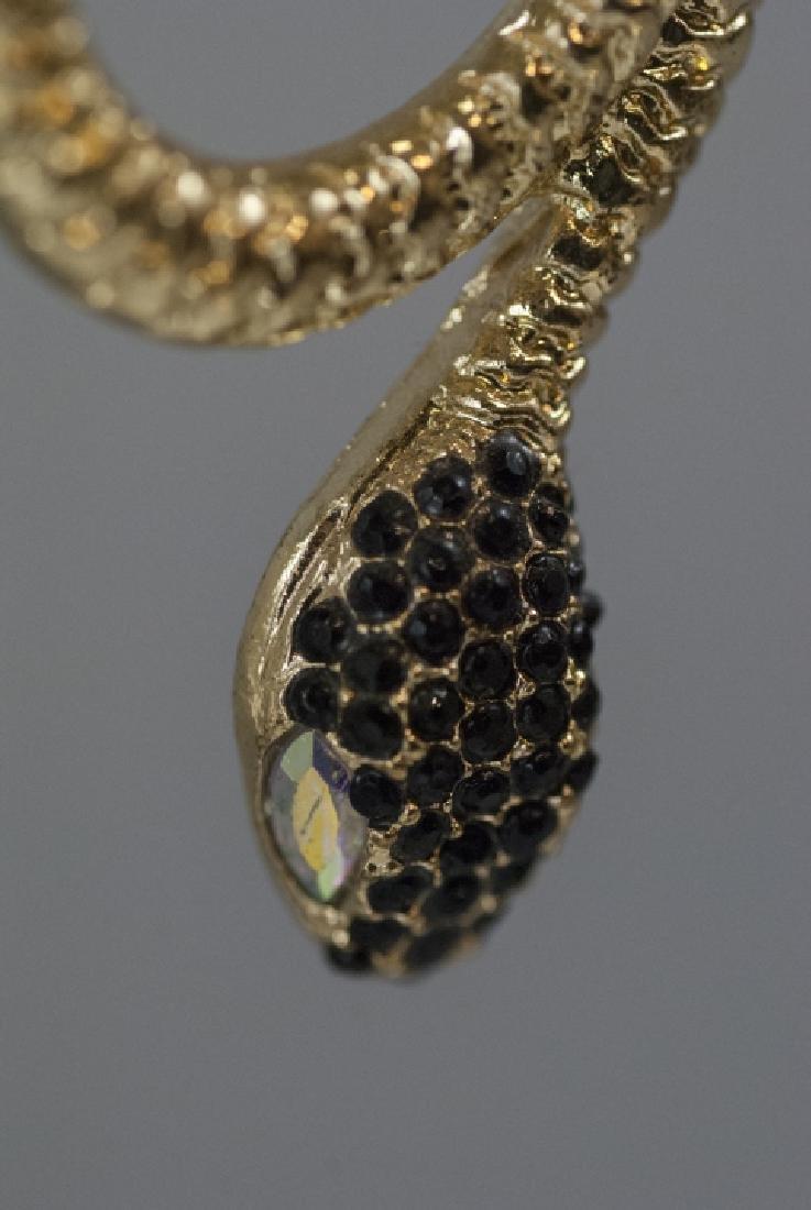 Pair of Gilt Metal & Rhinestone Snake Earrings - 2