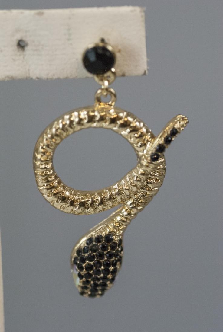Pair of Gilt Metal & Rhinestone Snake Earrings - 3