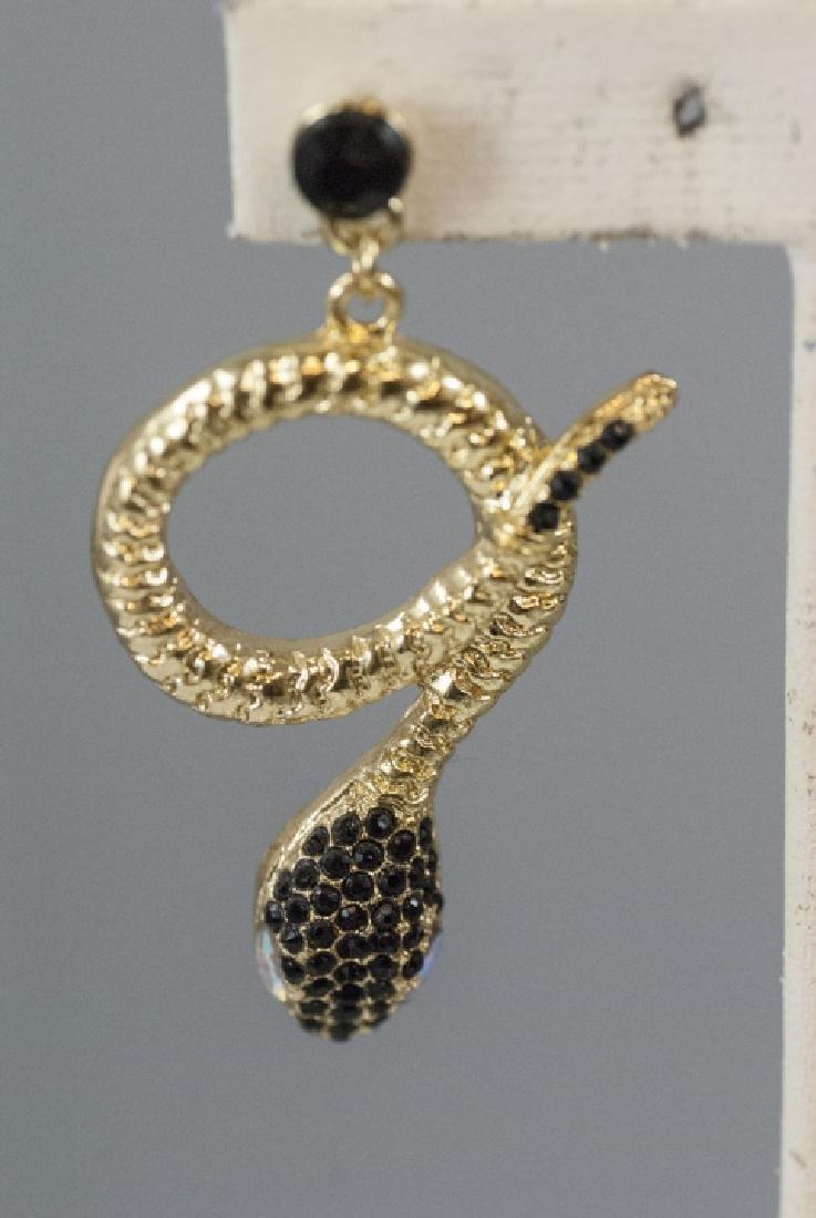 Pair of Gilt Metal & Rhinestone Snake Earrings - 4