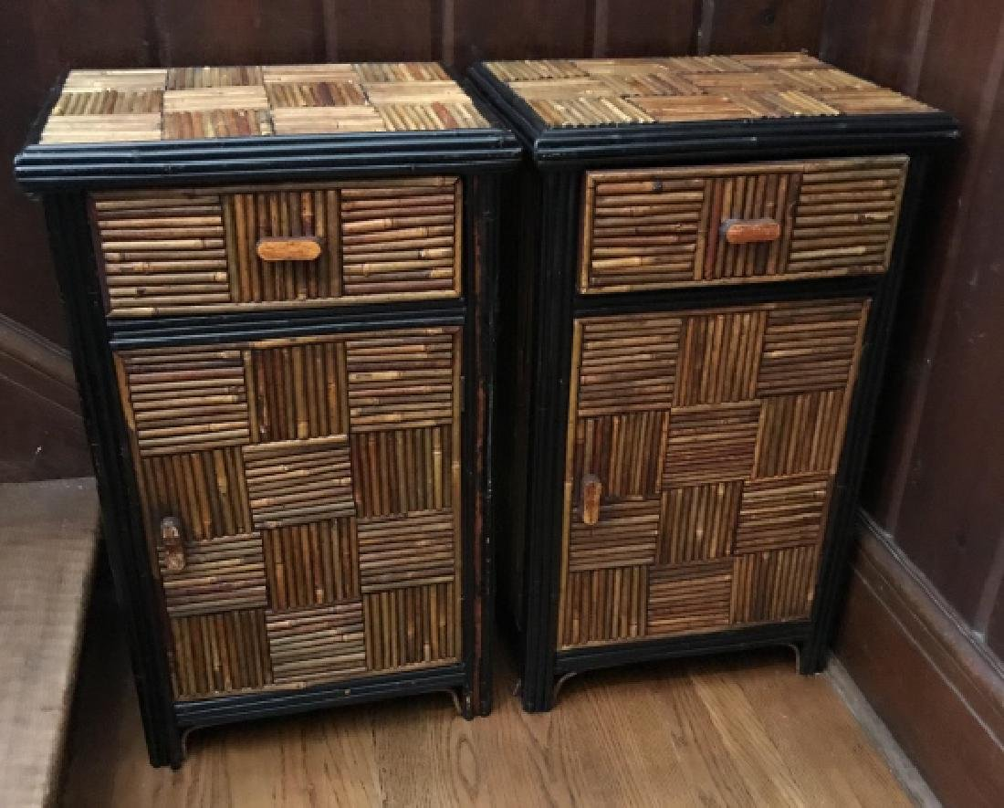 Pair of Vintage Asian Style Bamboo Night Stands
