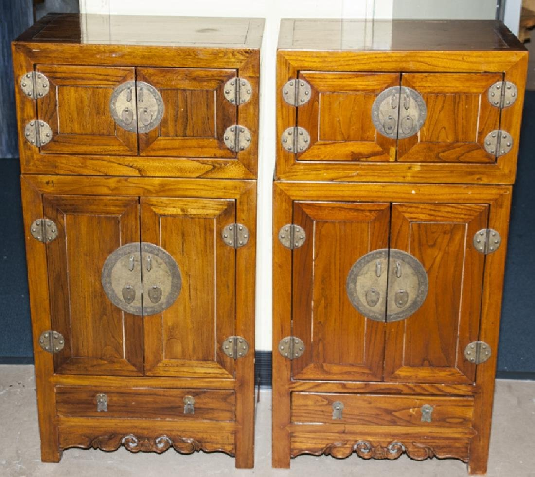 Pair of Chinese Kang Compound Wooden Cabinets