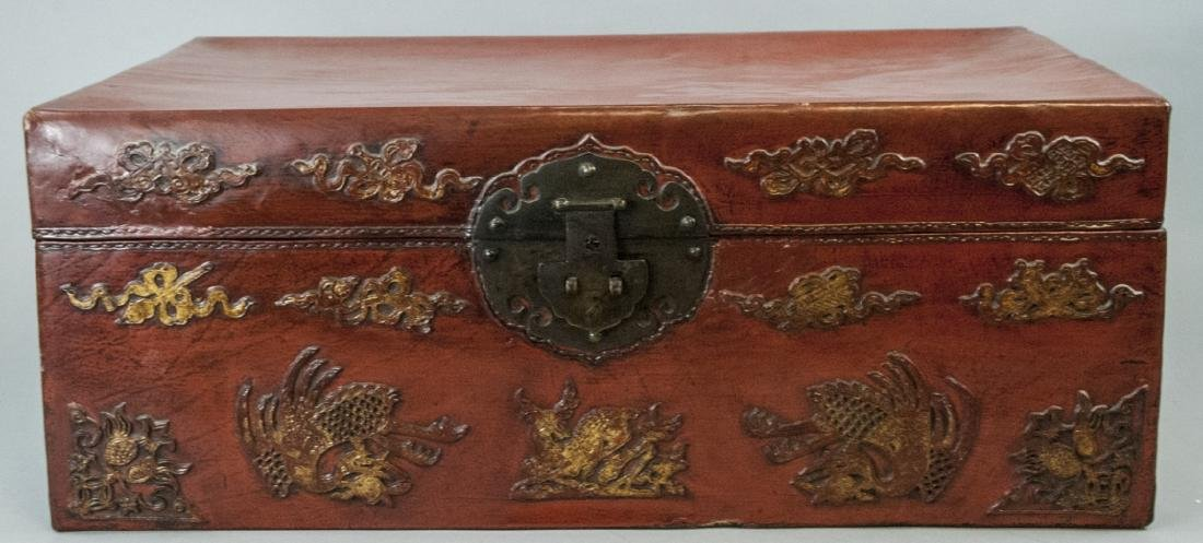 Antique Chinese Red Lacquered Leather Suitcase