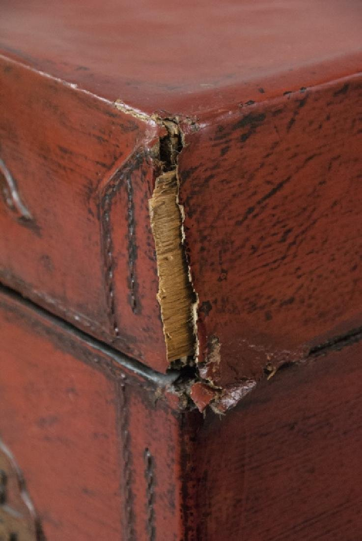 Antique Chinese Red Lacquered Leather Suitcase - 2
