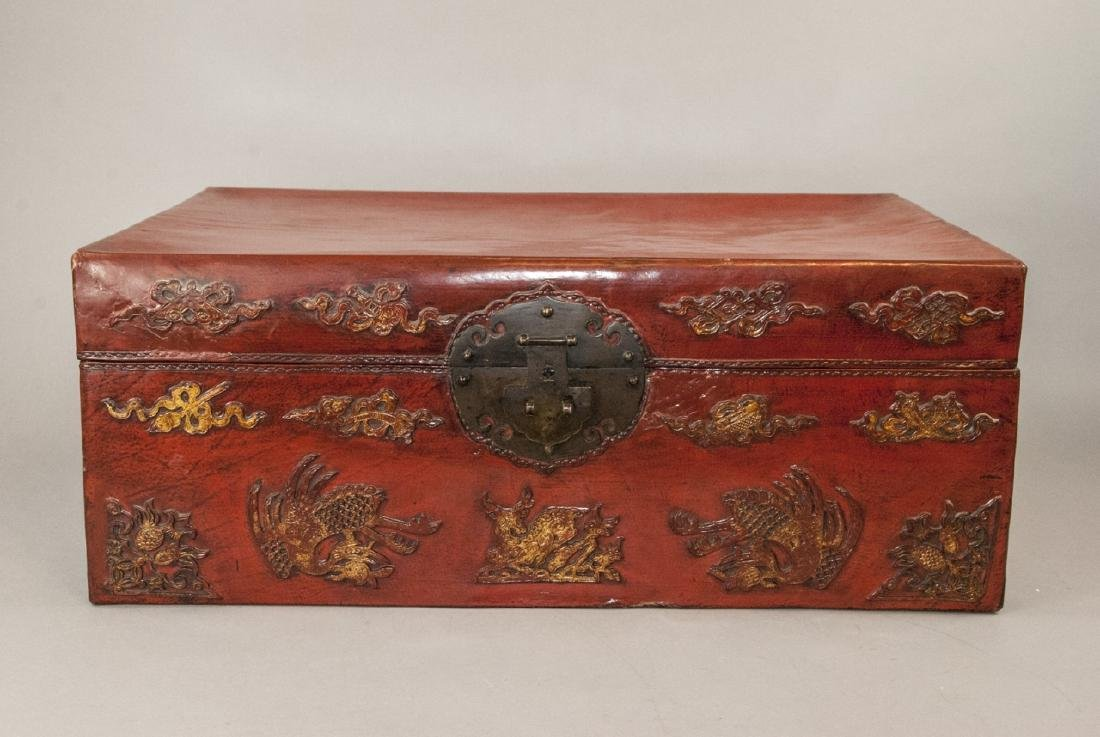 Antique Chinese Red Lacquered Leather Suitcase - 3