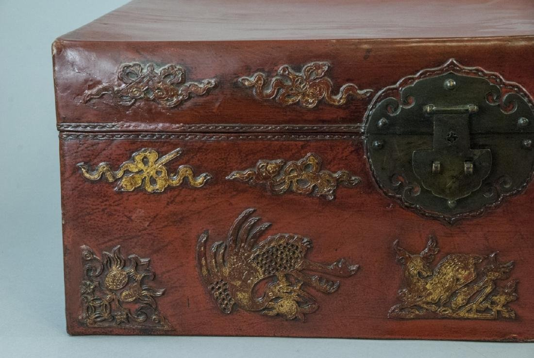 Antique Chinese Red Lacquered Leather Suitcase - 4