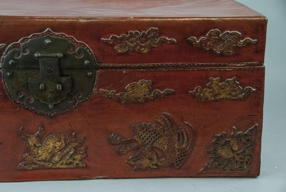 Antique Chinese Red Lacquered Leather Suitcase - 5
