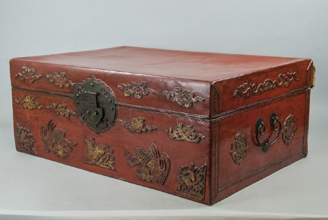 Antique Chinese Red Lacquered Leather Suitcase - 7