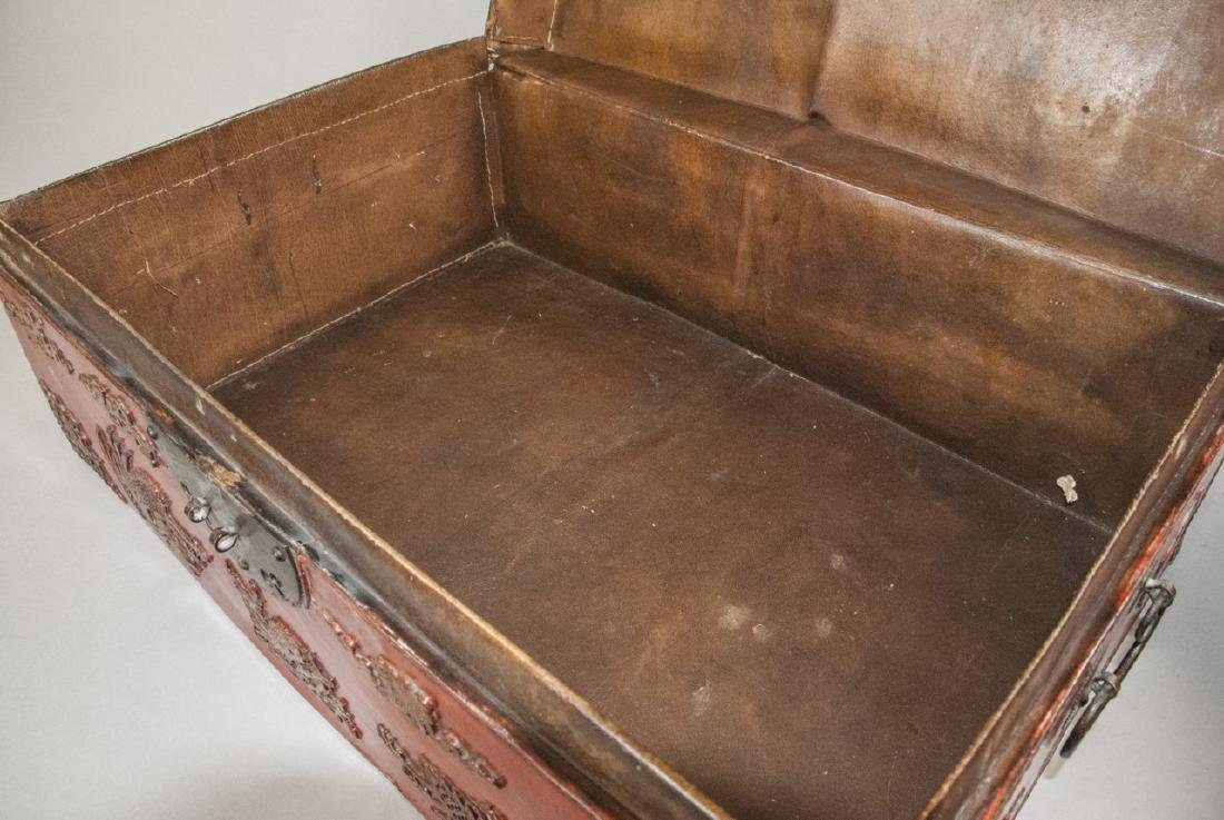 Antique Chinese Red Lacquered Leather Suitcase - 9