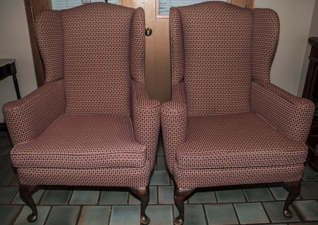 Pair Angel House Designs Wing Back Armchairs
