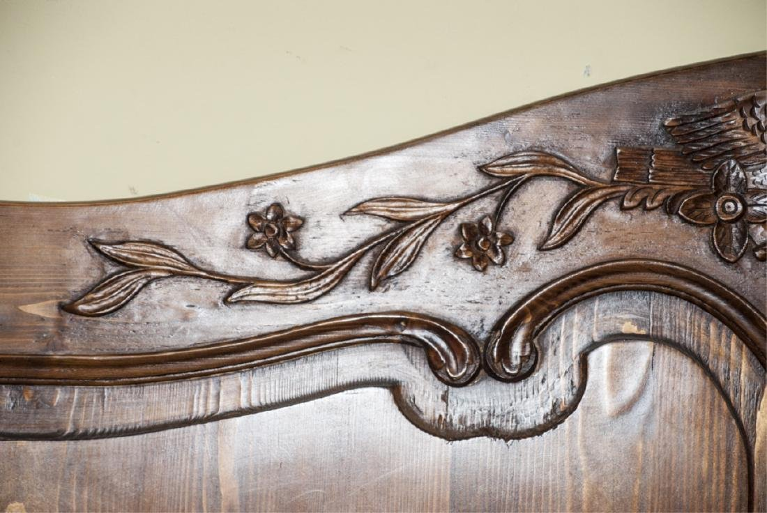 Antique Mahogany Carved Dove Headboard - 3