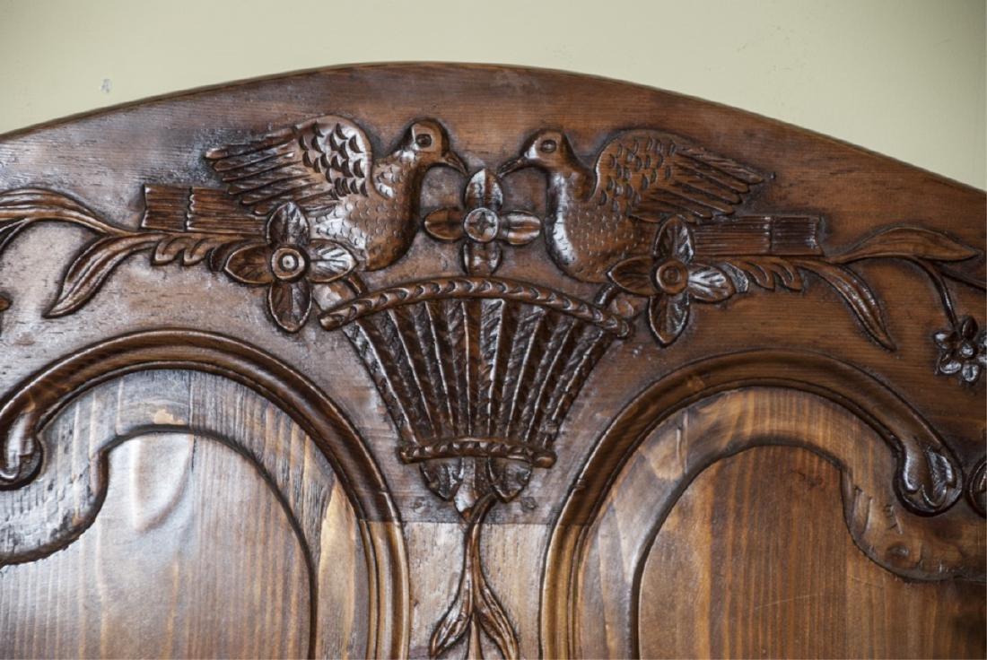 Antique Mahogany Carved Dove Headboard - 4