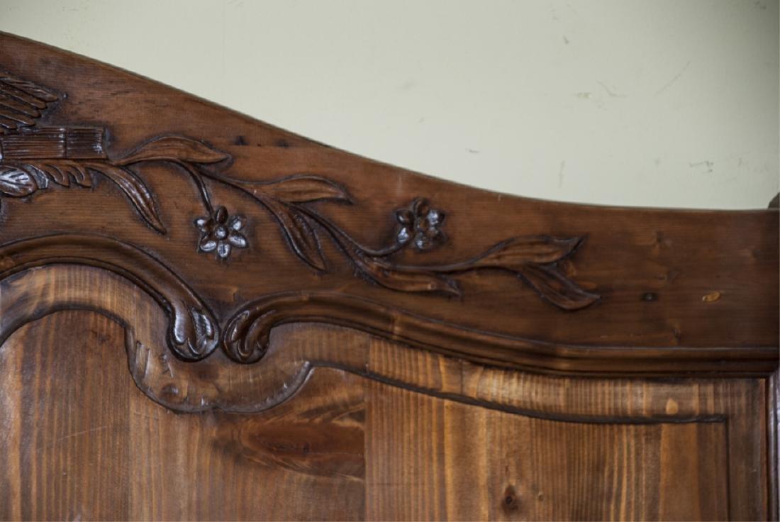 Antique Mahogany Carved Dove Headboard - 5