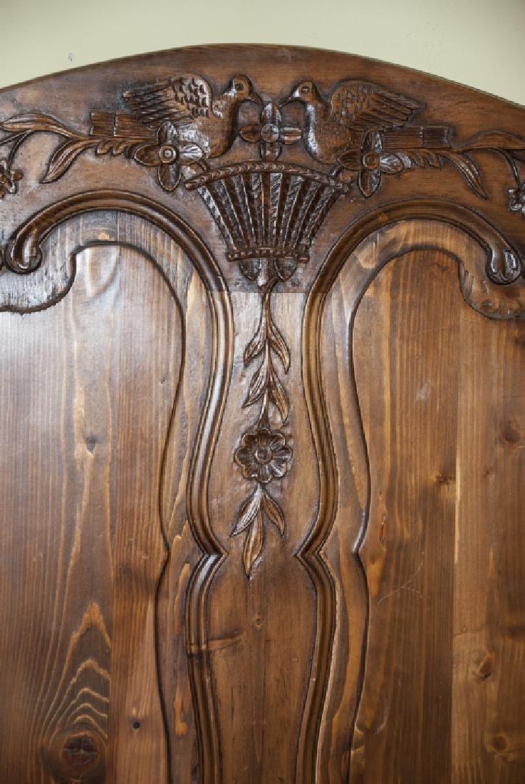 Antique Mahogany Carved Dove Headboard - 6