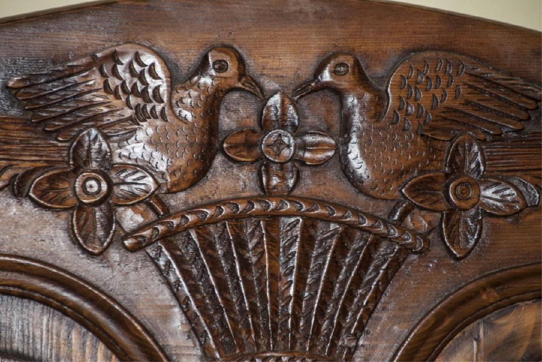 Antique Mahogany Carved Dove Headboard - 7