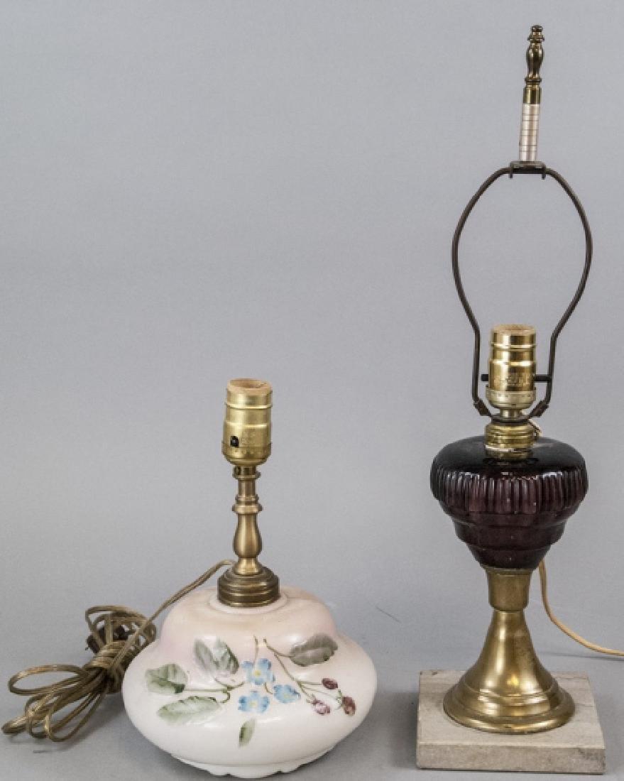 Pair Converted Antique  Art Glass Oil Lamps
