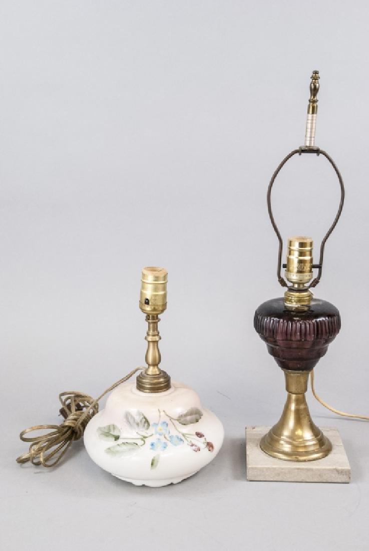 Pair Converted Antique  Art Glass Oil Lamps - 2