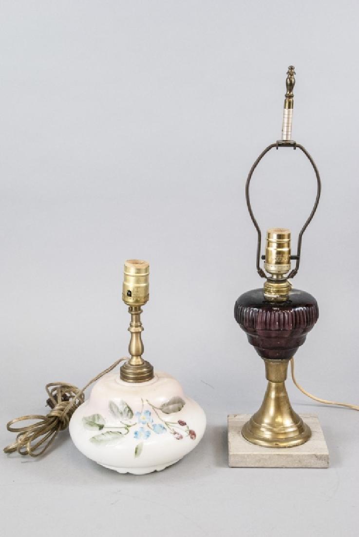 Pair Converted Antique  Art Glass Oil Lamps - 3